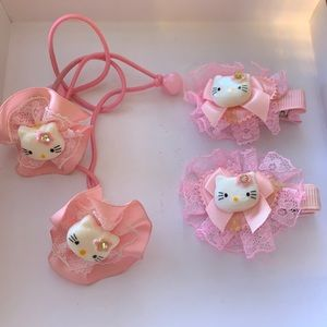 UNIQUE Hello Kitty Clips and Hair Ties